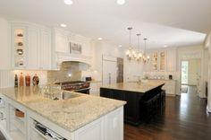 white w/ black glaze kitchen cabinets...loooooove this kitchen!  So clean and fresh looking!