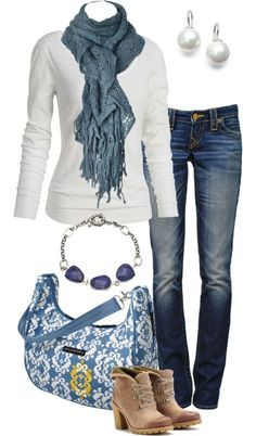 Sueter blanco, Jeans azules, Pashmina azul