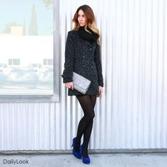 You don't find the plunging temperatures to be daunting in the least. As long as you have a wardrobe of cuddly wonders filling your closet, this cold snap stands as no threat to your cool-girl aesthetic. Stepping out in cobalt suede pumps, a basic tunic dress, and a dark leopard dream of a coat, you'll keep winter at bay in the most fashionable way! Buy this fashion look at: http://www.dailylook.com/f/todays-look