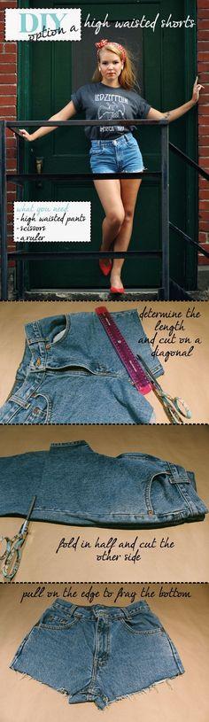 DIY :: High Waisted Shorts Option A #DIY #shorts