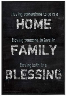 Having somewhere to go is a HOME, Having someone to love is FAMILY, Having both is a BLESSING #quote #wall #art