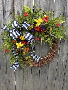 Wildflower Wreath, Spring / Summer Wreath, Black and White Buffalo Check Wildflower Farm Wreath Wreath Hanger, Diy Wreath, Grapevine Wreath, Wreath Ideas, Wreath Making, Spring Front Door Wreaths, Spring Wreaths, Silk Flower Wreaths, Floral Wreaths