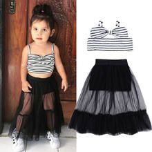 Kids Baby Girls Off Shoulder Striped Strap Pullover Tops Tulle Skirts Clothing Sets Summer Fashion For Teens, Kids Fashion, Trendy Fashion, Style Fashion, Toddler Outfits, Kids Outfits, Trendy Toddler Girl Clothes, Baby Girls, Child Baby