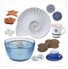 Tendencia Marinera para tu casa: Caracolas de mar, posavasos, tazas azules, set de aperitivos