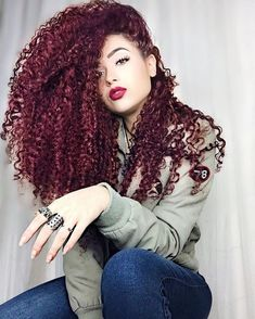 Be Sweet as a Plum: 50 Plum Hair Color Shades & Ideas for You! Colored Curly Hair, Long Curly Hair, Big Hair, Curly Hair Styles, Natural Hair Styles, Black Cherry Hair Color, Cherry Hair Colors, Plum Hair, Purple Hair
