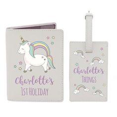 Personalised Passport & Luggage Tag - Baby Unicorn Baby Unicorn, Cute Unicorn, Personalised Gifts, Personalized Items, Passport Documents, Baby Holder, Passport Holders, Document Holder, Unicorns