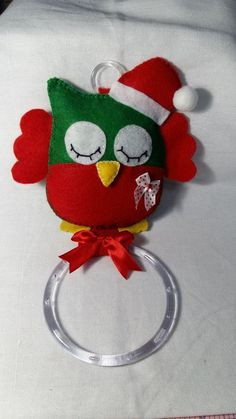 Porta pano de Prato feito em feltro com tema natalino.