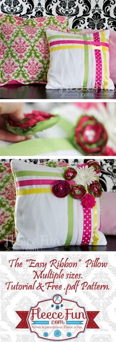 Easy ribbon pillow  - perfect first sewing project.  Free .pdf pattern and tutorial.
