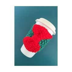 Green with Bright Red Bow KNIT CUP COZY by HUXEN on Etsy