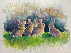 Watercolour painting of bunnies in conference by WatercoloursForSale on Etsy Watercolour Painting, Watercolours, Art Tutor, Autumn Lights, Oil Painting For Sale, Pencil Drawings, Art Lessons, Rabbit, Bunny