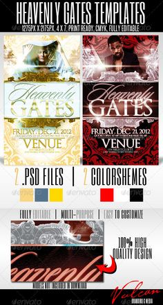 Heavenly Gates Flyer Templates  #GraphicRiver         2 .psd files, 2 separate colorschemes, 100% high quality design. Mulit-purpose flyer. Comes with fully organized and editable layers making it easy to customize. Excellent flyer of any occasion. Help file included with links to font downloads.  	 Color mode: CMYK Resolution: 300 DPI Total Dimensions: 4.25 in. x 7.25 in. (1275px x 2175px), PRINT READY   	 Thanks! Hope you enjoy!     Created: 28November11 GraphicsFilesIncluded: PhotoshopPSD...