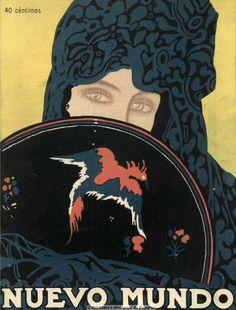 1919 Cover for Spanish Magazine, Nuevo Mundo - early 20th Century 1910's 1920's Spain