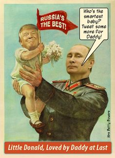 Donald has been tweeting today about how much smarter Putin is than Obama, and, indeed, how much smarter Russians are than Americans. I worry about the drama that will inevitably ensue once Donald's raging Narcissistic Personality Disorder collides with the very, very, very slow realization that Putin never really loved him. Do we get popcorn or air raid shelters?