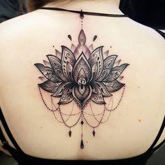 Girls Mandala back tattoo by Fede - Soular Tattoo N.Z