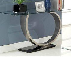 Silvera Modern Black Silver Metal Glass Sofa Table