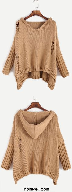 Khaki Ripped High Low Hooded Sweater