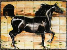 """Handmade kitchen tile mural for a backsplash wall in colonial style. Decorative red clay tiles from Mexico with """"The Black Horse"""" 32 x 24 inch design in black, brown and green on a white background. This handmade kitchen tile mural is available painted on 4x4 or 6x6 talavera tiles and free delivery to Mexico, and the US."""