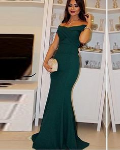 Women's Fashion Crisscross V-neck Blue Off-shoulder Mermaid Formal Occasion Evening Dress Prom on Luulla