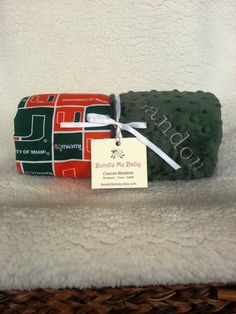 University of Miami Baby Minky Blanket All NCAA School available for purchase www.BundleMeBaby.etsy.com