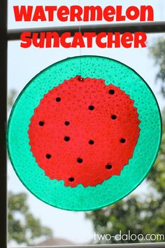 Make melted bead suncatchers watermelon style with red and green plastic beads and black glass beads. Easy and beautiful!