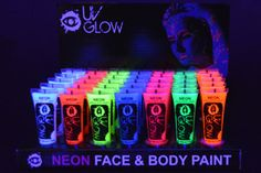 UV Glow Blacklight Neon Face and Body Paint - Case of 240 Resale Wholesale *** Visit the image link more details. Neon Birthday, 13th Birthday Parties, 14th Birthday, Glow In Dark Party, Glow Party, Neon Face Paint, Body Paint, Glow Run, Blacklight Party