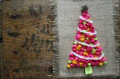 scrumdilly-do!: Make a Retro Tissue Tree - too complicated for class craft project? Christmas Projects For Kids, Winter Art Projects, Winter Crafts For Kids, Noel Christmas, Christmas Countdown, Christmas Crafts For Kids, Holiday Crafts, Christmas Decorations, Xmas