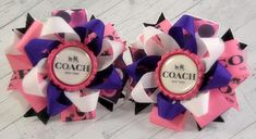 Coach Inspired Pigtail hair bows  2 bows  stacked hair bows