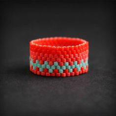 Womens ring size 8.5 Colorful boho ring for women Seed bead ring Bohemian beaded jewelry Unusual womens ring Hypoallergenic ring band