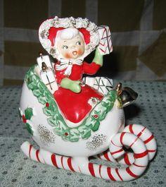 Vintage Christmas Girl Figurine Sleigh Candy Cane Japan | eBay Christmas Time Is Here, Very Merry Christmas, Cozy Christmas, Retro Christmas, Christmas Carol, All Things Christmas, Christmas Holidays, Christmas Classics, Christmas Ideas