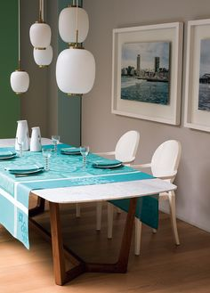 Le Jacquard Francais - Siena Table Linens. Available in taupe and turquoise in a variety of tablecloth sizes, placemats and napkins.