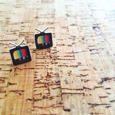 Retro tv shrink plastic earrings. by Silverliningworks on Etsy