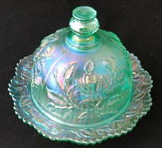 Soft color butter dish ~~ I love iridescent glass.
