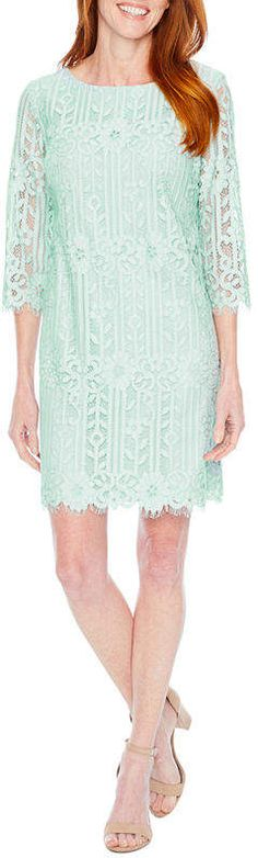 Liz Claiborne 3/4 Sleeve Lace Sheath Dress
