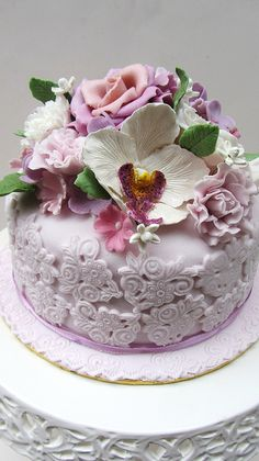 Anita Jamal | Untitled | dessert + cake flowers pink purple green white