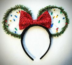 Christmas Lights Minnie Mouse Ears!  Check out this item in my Etsy shop https://www.etsy.com/listing/559707194/christmas-lights-mickey-mouse-ears
