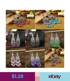 Earrings Women Vintage Fashion Bohemian Boho Multi-Color Beads Dangle Alloy  Drop Earring  ebay 246bd50026