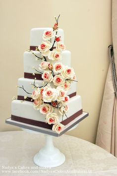 roses and blossom branches wedding cake — Square Wedding Cakes