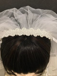 """Thanks for the kind words! ★★★★★ """"I absolutely love this veil for my daughter's 1st Holy Communion. Even more beautiful in person than the picture. Beautiful quality and timeless design. I am so happy with my purchase!"""" Julianna G. Headband Veil, Crystal Headband, Pearl Headband, Bridal Comb, Bridal Tiara, Headpiece Wedding, Catholic Veil, First Communion Veils, Thing 1"""