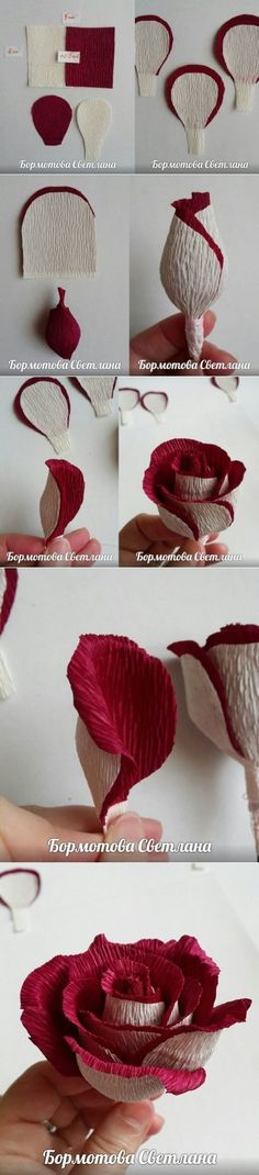 You can easily make your own rose from crepe paper. First, take two different colors of crepe paper. Handmade Flowers, Diy Flowers, Fabric Flowers, Wedding Flowers, Wedding Bouquets, Burlap Flowers, Flower Ideas, Beaded Flowers, Crepe Paper Roses