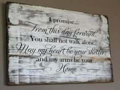 Rustic Wedding Vow Sign Made From Reclaimed Wood - From This Day Forward Wood Sign