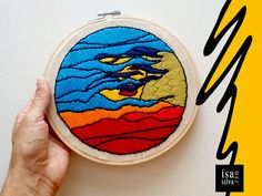 Embroidery Hoop Art - Bordado com bastidor - Wind - Square Faces Project by Isa Silva