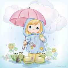 Precious Moments colouring - Girl with umbrella