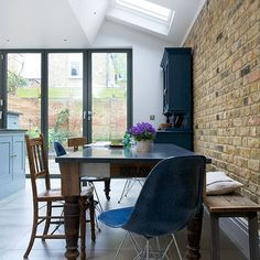 Dining room with exposed brick wall| Dining room decorating ideas | Beautiful Kitchens | Housetohome.co.uk