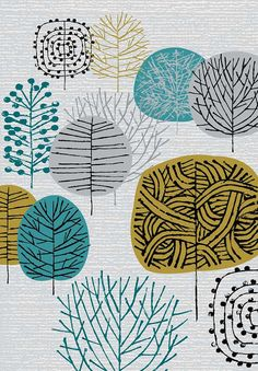 """""""I Love Woodland"""" limited edition giclee print by Eloise Renouf. This is a limited edition giclee print of stylised trees in shades of grey, olive, teal and black. All my images start life as something hand created, either painted, printed or drawn. My images are then digitally coloured."""