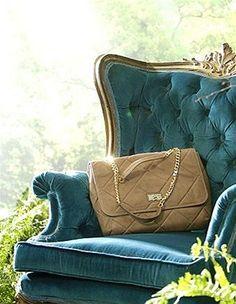 Melanie Auld Madison #Bag. Blue #Velvet #chair