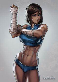 Korra by dandonfuga.deviantart.com on @DeviantArt - More at https://pinterest.com/supergirlsart/ Legend of Korra #lok #avatar #sexy #fit #abs #fanart