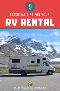 RV Rental Tips.  Have you always wanted to try RV Travel or RV Camping? Renting an RV is an awesome way to see if you enjoy hitting the roads in a motorhome without the huge cost of buying an RV.  These tips help you choose the RV that's right for you and your family by laying out things to keep in mind for choosing your rental, planning your trip, and more.  Have one of the best trips ever with these essential ideas! #RVrental #RVing #RVtravel #familytravel #roadtrips #roadtrip
