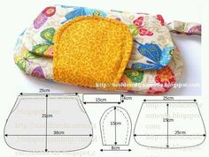 Gosto do modelo, das cores nem tanto.- Cute handbag with pattern.Fashion Templates for Measure: fanny pack FABRICfree sewing clutch bag - pattern andno instructions, just pattern Don't like the fabric choice here Bag Patterns To Sew, Baby Knitting Patterns, Sewing Patterns Free, Sewing Tutorials, Pattern Sewing, Free Sewing, Dress Patterns, Free Pattern, Patchwork Bags