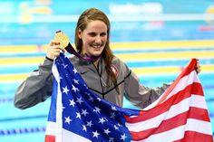 Missy Franklin - USA Swim Team celebrates her gold medal win in the Women's 100m Backstroke