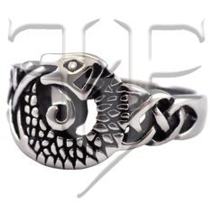 Nordic Viking Celtic Knot Dragon Ring Stainless Steel Band